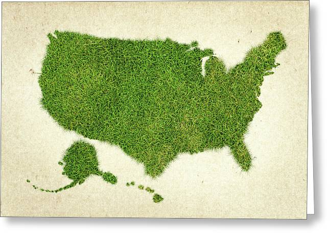 Planet Map Mixed Media Greeting Cards - United State Grass Map Greeting Card by Aged Pixel