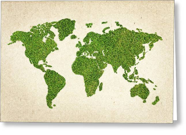 Planet Map Mixed Media Greeting Cards - World Grass Map Greeting Card by Aged Pixel