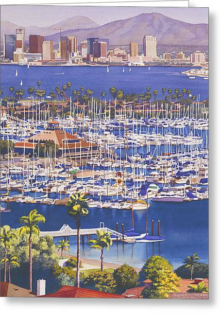 Skyline Paintings Greeting Cards - A Clear Day in San Diego Greeting Card by Mary Helmreich