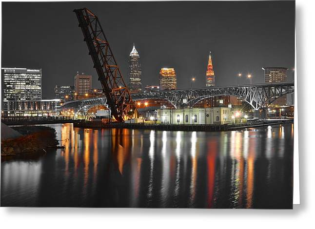 First Tribes Greeting Cards - A Cleveland Night Greeting Card by Frozen in Time Fine Art Photography