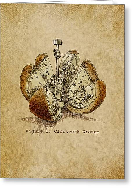 Orange Greeting Card featuring the drawing A Clockwork Orange by Eric Fan