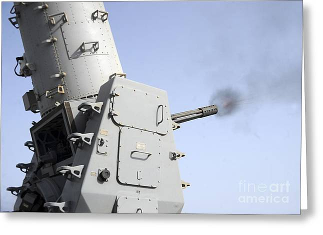 Close In Greeting Cards - A Close-in Weapons System Fires Greeting Card by Stocktrek Images
