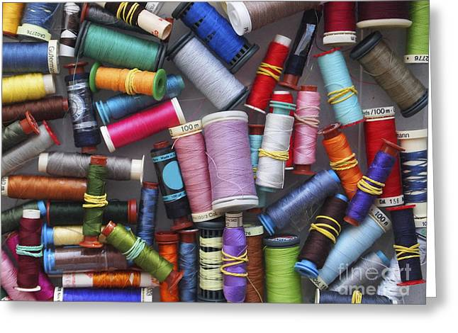 Spool Greeting Cards - A close view of threads Greeting Card by Bernard Jaubert