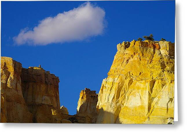 A CLOUD OVER ORANGE ROCK Greeting Card by Jeff  Swan