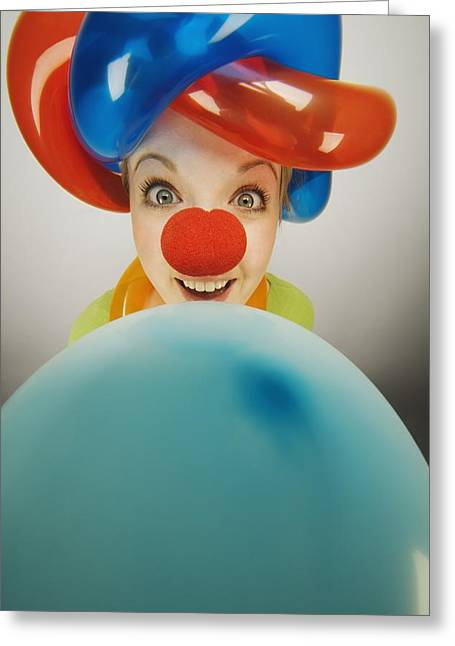 Jubilation Greeting Cards - A Clown Smiling With Balloons Greeting Card by Darren Greenwood