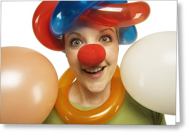 Jubilation Greeting Cards - A Clown With Balloons Greeting Card by Darren Greenwood