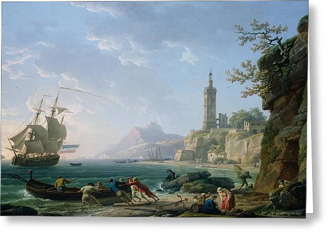 Sailboats In Harbor Greeting Cards - A Coastal Mediterranean Landscape Greeting Card by Claude Joseph Vernet