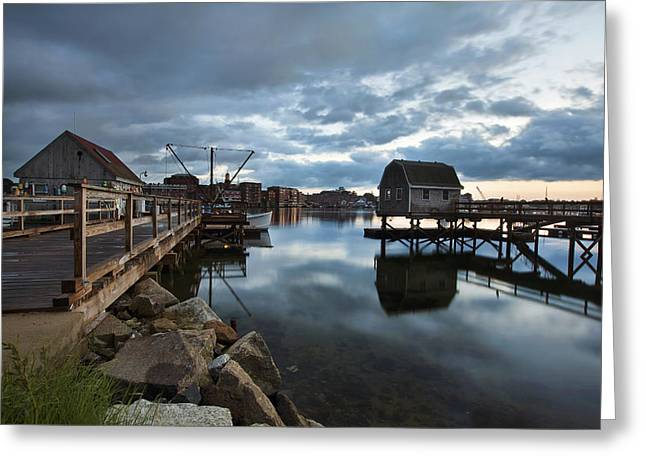 Maine Waterfront Greeting Cards - A Coastal Scene Greeting Card by Eric Gendron