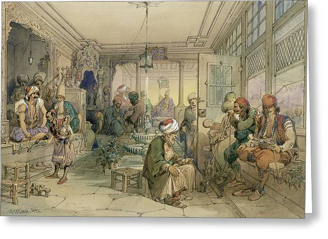 Istanbul Greeting Cards - A Coffee House, Constantinople, 1854 Greeting Card by Amadeo Preziosi