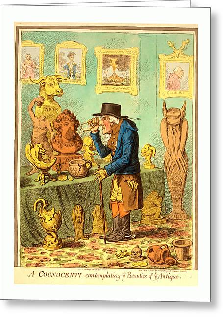 A Cognocenti Contemplating Ye Beauties Of Ye Antique Greeting Card by English School