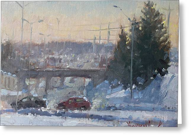Overpass Greeting Cards - A Cold Morning Greeting Card by Ylli Haruni