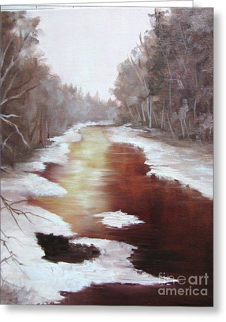 D.w. Paintings Greeting Cards - A Cold Snowy Day Greeting Card by Barbara Haviland