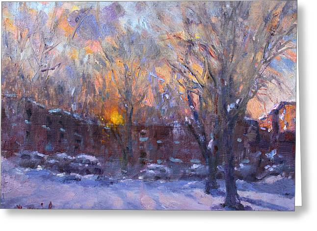 Apartment Greeting Cards - A Cold Winter Sunset  Greeting Card by Ylli Haruni