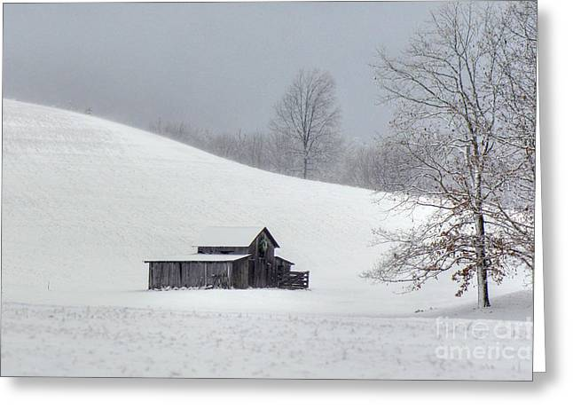 Wintery Barn Greeting Cards - A Cold Winters Day Greeting Card by Benanne Stiens