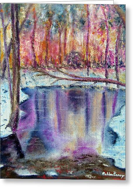Ice Pastels Greeting Cards - A Cold Winters Pond Greeting Card by Callan Percy
