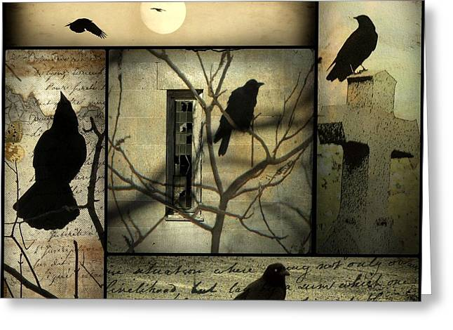 Art In Squares Greeting Cards - A Collage Of Crows Greeting Card by Gothicolors Donna Snyder