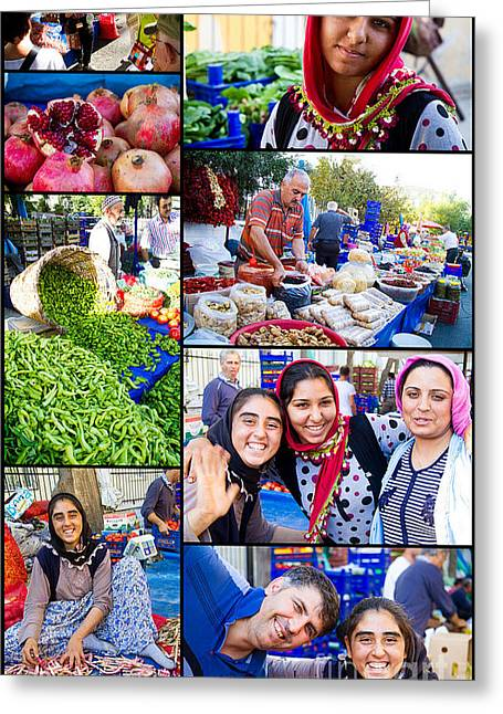 A Collage Of The Fresh Market In Kusadasi Turkey Greeting Card by David Smith