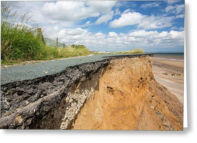 A Collapsed Coastal Road At Skipsea Greeting Card by Ashley Cooper
