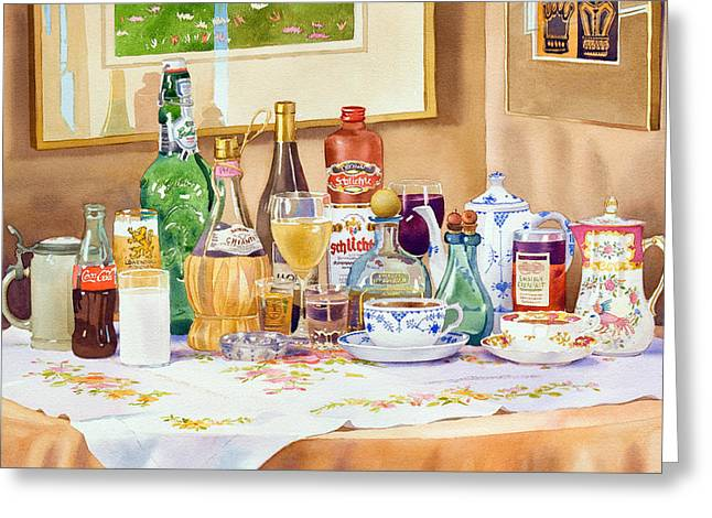 Cloth Greeting Cards - A Collection of Drinks Greeting Card by Mary Helmreich