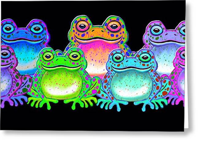 Amphibians Digital Art Greeting Cards - A colorful collection of spotted frogs Greeting Card by Nick Gustafson