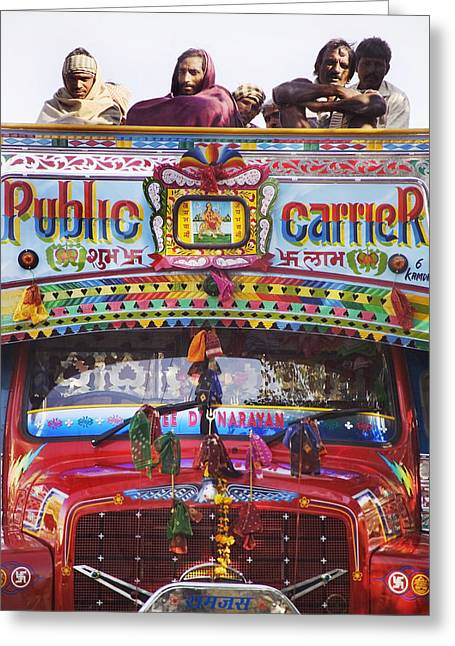 Locals Only Greeting Cards - A Colorful Public Bus In Rajasthan Greeting Card by Alan Williams