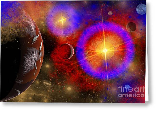 Twinkle Greeting Cards - A Colorful Section Of Alien Space Greeting Card by Mark Stevenson