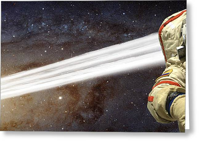 Messier 31 Greeting Cards - A Comet Passes By An Astronaut In Deep Greeting Card by Marc Ward