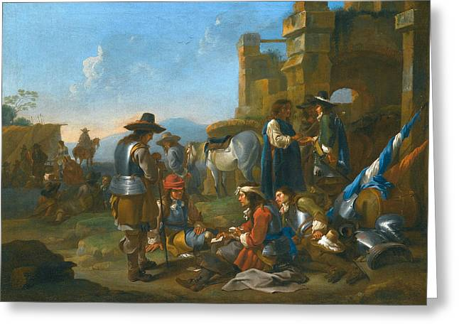 Miel Greeting Cards - A Company of Soldiers Greeting Card by Jan Miel