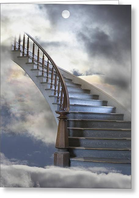 Winding Staircases Greeting Cards - A Composite Entitled Staircase Greeting Card by Robert Bartow