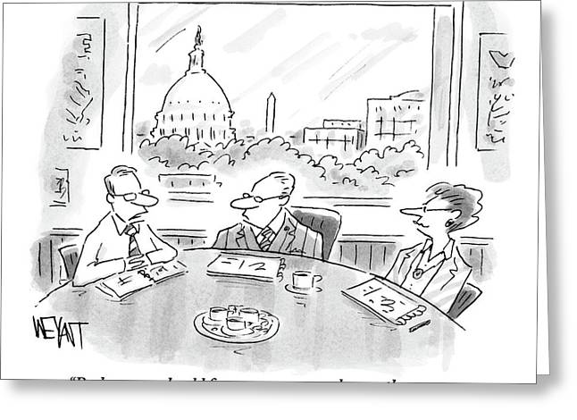 A Consultant Speaks To Two Businesspeople Greeting Card by Christopher Weyant