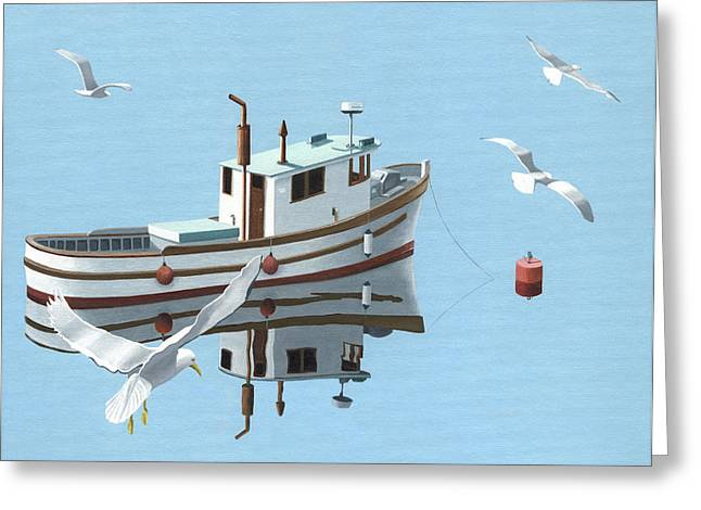 Fishing Boats Greeting Cards - A contemplation of seagulls Greeting Card by Gary Giacomelli