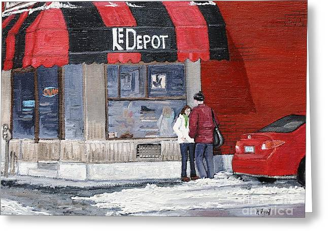 City Of Montreal Paintings Greeting Cards - A Conversation Near Le Depot Greeting Card by Reb Frost