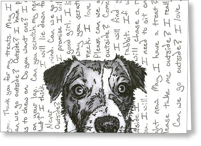 Puppies Mixed Media Greeting Cards - A CONVERSATION WITH A jack russell terrier Greeting Card by Salvadore Delvisco