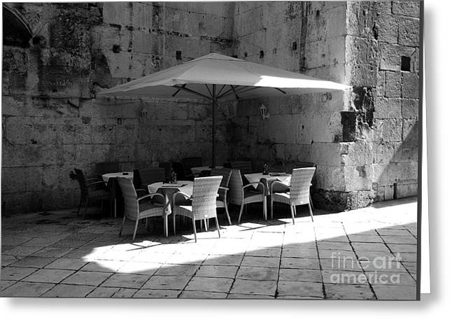 A Cool Corner In Croatia Bw Greeting Card by Mel Steinhauer