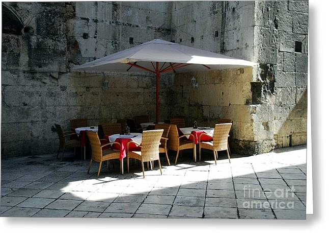 European Restaurant Greeting Cards - A Cool Corner In Croatia Greeting Card by Mel Steinhauer