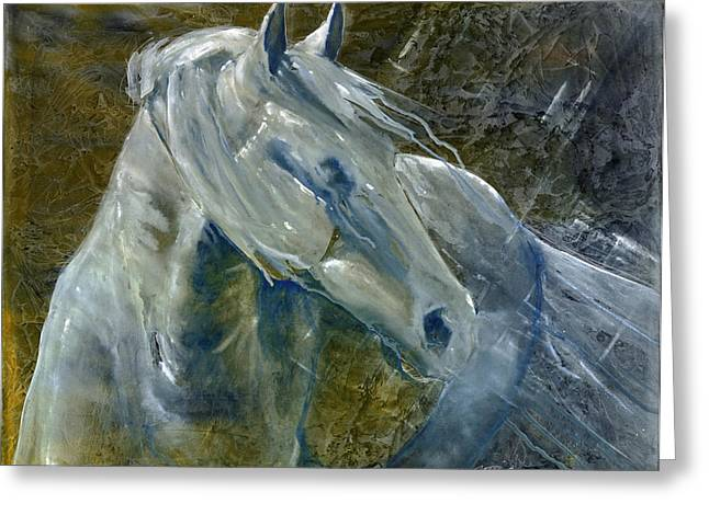 Impressionistic Equine Art Greeting Cards - A Cool Morning Breeze Greeting Card by Jani Freimann