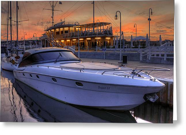 Sailing At Night Greeting Cards - A Cool Motorboat Yacht in Sopot Marina Greeting Card by Julis Simo