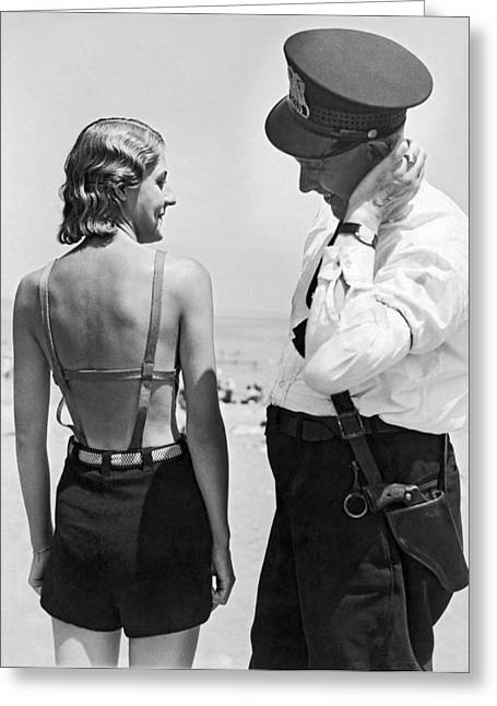 A Cop Polices Bathing Suits Greeting Card by Underwood Archives