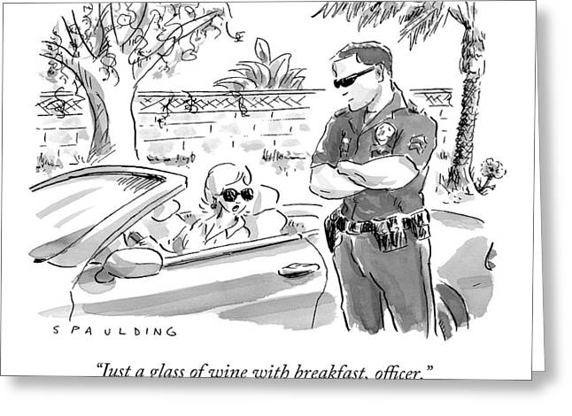 A Cop Pulling Over A Pretty Blonde Woman Greeting Card by Trevor Spaulding