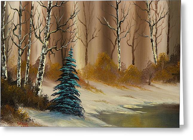 Bob Ross Paintings Greeting Cards - Russet Winter Greeting Card by C Steele