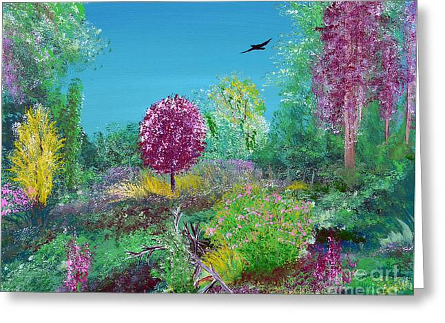 Indiana Springs Paintings Greeting Cards - A Corner of Heaven in Rural Indiana Greeting Card by Alys Caviness-Gober