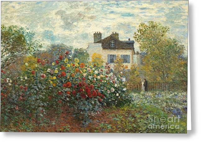 Figure In Oil Greeting Cards - A Corner of the Garden with Dahlias Greeting Card by Claude Monet