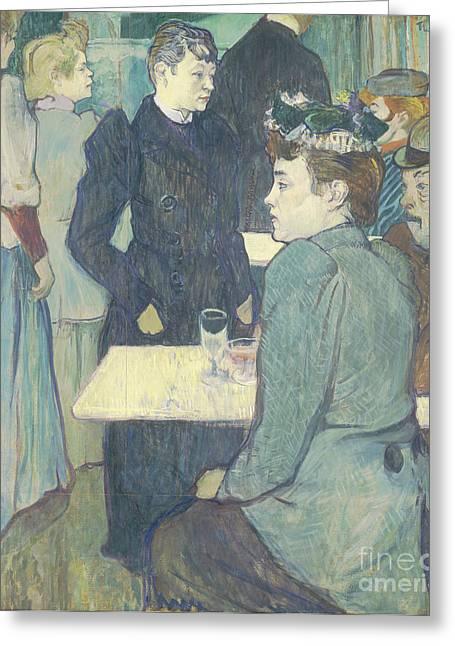 Cafe Greeting Cards - A Corner of the Moulin de la Galette Greeting Card by Henri de Toulouse Lautrec