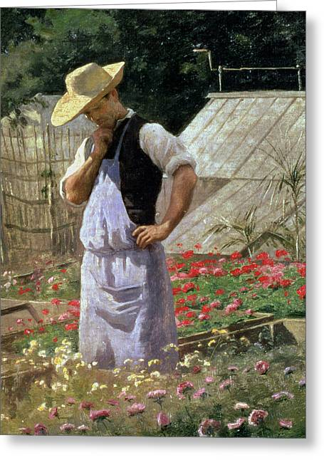 Sun Hat Greeting Cards - A Corner of the Rose Garden at Bagatelle Greeting Card by Henri Adolphe Laissement