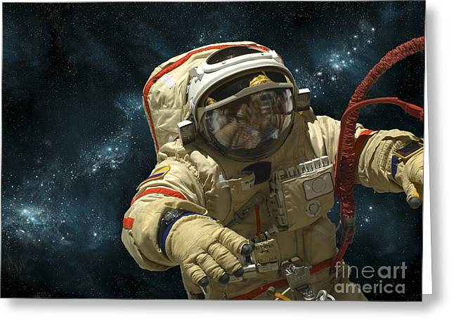 A Cosmonaut Against A Background Greeting Card by Marc Ward