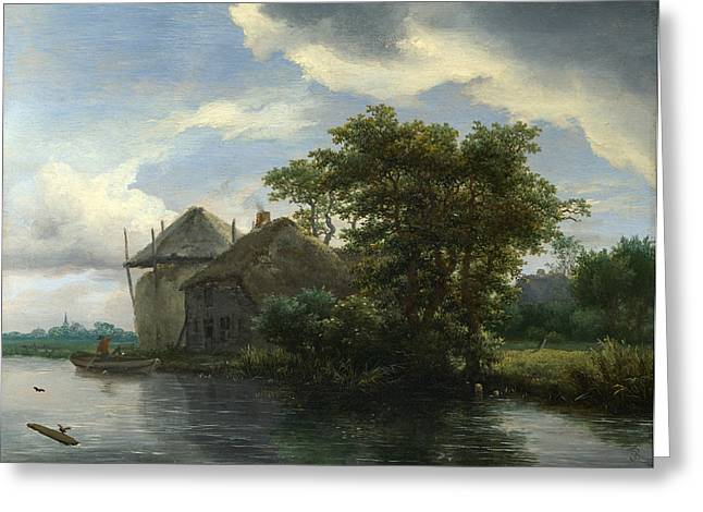 Hayrick Greeting Cards - A Cottage and a Hayrick by a River Greeting Card by Jacob Isaacksz van Ruisdael