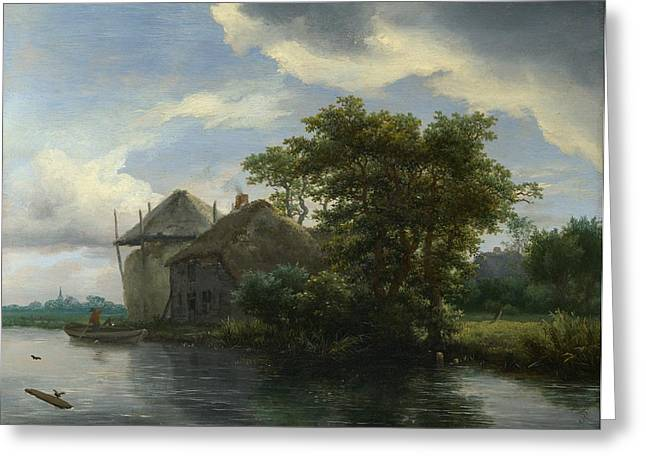 Hayrick Greeting Cards - A Cottage and a Hayrick by a River Greeting Card by Jacob van Ruisdael