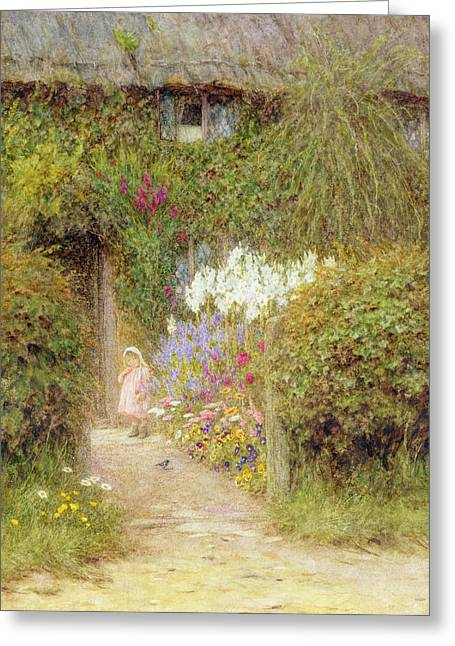 Calm Paintings Greeting Cards - A cottage at Redlynch Greeting Card by Helen Allingham