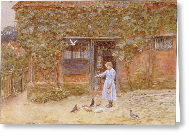 Rosebush Greeting Cards - A Cottage At Shere, C.1875 Wc On Paper Greeting Card by Helen Allingham