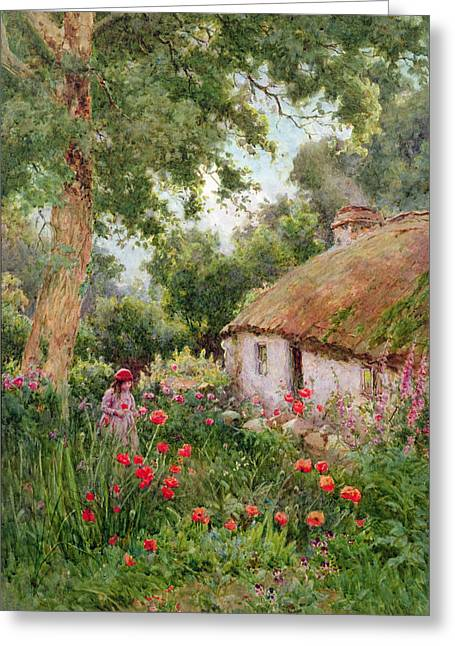 Foxglove Flowers Paintings Greeting Cards - A Cottage Garden Greeting Card by Tom Clough
